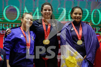30/01/2020 - The podium of 71 Kg category. 1st classified: Alwine Meredith Leight 2nd classified: Durante Alessia (ITA) 3rd classified: Macrohon Kristel (PHI) - IWF COPPA DEL MONDO SOLLEVAMENTO PESI 2020 - DAY4 - SOLLEVAMENTO PESI - ALTRO