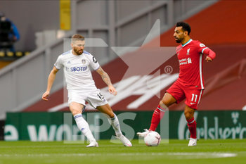12/09/2020 - Leeds United defender Stuart Dallas (15) and Liverpool forward Mohamed Salah (11) during the English championship Premier League football match between Liverpool and Leeds United on September 12, 2020 at Anfield in Liverpool, England - Photo Simon Davies / ProSportsImages / DPPI - LIVERPOOL VS LEEDS UNITED - ENGLISH PREMIER LEAGUE - CALCIO