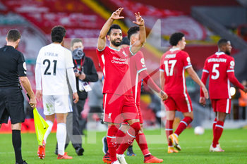 12/09/2020 - Liverpool forward Mohamed Salah (11) gestures for his hat-trick ball after the English championship Premier League football match between Liverpool and Leeds United on September 12, 2020 at Anfield in Liverpool, England - Photo Malcolm Bryce / ProSportsImages / DPPI - LIVERPOOL VS LEEDS UNITED - ENGLISH PREMIER LEAGUE - CALCIO