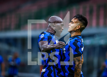28/07/2020 - Lautaro Martinez of FC Internazionale and Romelu Lukaku of FC Internazionale celebrates the goal during the Serie A 2019/20 match between FC Internazionale vs SSC Napoli at the San Siro Stadium, Milan, Italy on July 28, 2020 - Photo Fabrizio Carabelli - INTER VS NAPOLI - SERIE A - CALCIO