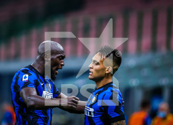 28/07/2020 - Romelu Lukaku of FC Internazionale and Lautaro Martinez of FC Internazionale celebrates the goal during the Serie A 2019/20 match between FC Internazionale vs SSC Napoli at the San Siro Stadium, Milan, Italy on July 28, 2020 - Photo Fabrizio Carabelli - INTER VS NAPOLI - SERIE A - CALCIO
