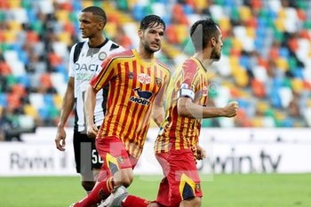 29/07/2020 - Lecce's Gianluca Lapadula (R) jubilates with his teammate Ievgenii Shakhov after scoring the goal during the Italian Serie A soccer match Udinese Calcio vs US Lecce at the Friuli - Dacia Arena stadium in Udine, Italy, 29 July 2020. ANSA/GABRIELE MENIS - UDINESE VS LECCE - SERIE A - CALCIO