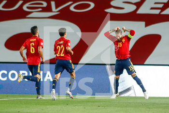 06/09/2020 - Sergio Ramos of Spain celebrates a goal during the UEFA Nations League football match between Spain and Ukraine on september 06, 2020 at Alfredo Di Stefano stadium in Valdebebas near Madrid, Spain - Photo Oscar J Barroso / Spain DPPI / DPPI - SPAGNA VS UCRAINA - UEFA NATIONS LEAGUE - CALCIO