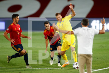 06/09/2020 - Andriy Yarmolenko of Ukraine fight for the ball with Sergio Reguilon and Mikel Merino of Spain during the UEFA Nations League football match between Spain and Ukraine on september 06, 2020 at Alfredo Di Stefano stadium in Valdebebas near Madrid, Spain - Photo Oscar J Barroso / Spain DPPI / DPPI - SPAGNA VS UCRAINA - UEFA NATIONS LEAGUE - CALCIO