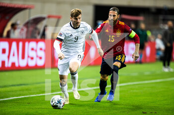 17/11/2020 - Timo Werner of Germany and Sergio Ramos of Spain during the UEFA Nations league football match between Spain and Germany on November 17, 2020 at the la Cartuja Stadium in Sevilla, Spain - Photo Joaquin Corchero / Spain DPPI / DPPI - SPAIN VS GERMANY - UEFA NATIONS LEAGUE - CALCIO