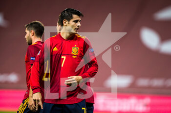 17/11/2020 - Alvaro Morata of Spain celebrates a goal during the UEFA Nations league football match between Spain and Germany on November 17, 2020 at the la Cartuja Stadium in Sevilla, Spain - Photo Joaquin Corchero / Spain DPPI / DPPI - SPAIN VS GERMANY - UEFA NATIONS LEAGUE - CALCIO