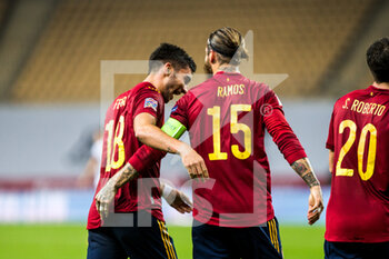 17/11/2020 - Ferran Torres of Spain celebrates a goal with Sergio Ramos during the UEFA Nations league football match between Spain and Germany on November 17, 2020 at the la Cartuja Stadium in Sevilla, Spain - Photo Joaquin Corchero / Spain DPPI / DPPI - SPAIN VS GERMANY - UEFA NATIONS LEAGUE - CALCIO