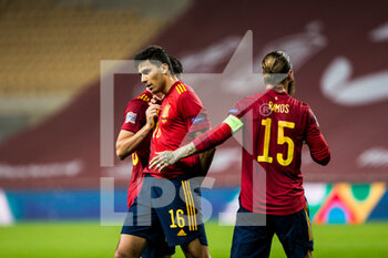 "17/11/2020 - Rodrigo ""Rodri"" Hernandez of Spain celebrates a goal during the UEFA Nations league football match between Spain and Germany on November 17, 2020 at the la Cartuja Stadium in Sevilla, Spain - Photo Joaquin Corchero / Spain DPPI / DPPI - SPAIN VS GERMANY - UEFA NATIONS LEAGUE - CALCIO"