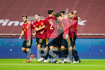 "17/11/2020 - Rodrigo ""Rodri"" Hernandez of Spain celebrates a goal with teammates during the UEFA Nations league football match between Spain and Germany on November 17, 2020 at the la Cartuja Stadium in Sevilla, Spain - Photo Joaquin Corchero / Spain DPPI / DPPI - SPAIN VS GERMANY - UEFA NATIONS LEAGUE - CALCIO"