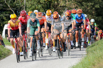 09/10/2020 - The group crossing the GPM of Arcano's Castle leaded by Idar Andersen - Uno XPro Cycling Team and Matthias Mangertseder - Maloja Pushbikers - UNDER 23 ELITE - TAPPA IN LINEA – ROAD RACE VARIANO – SAN MARCO DI MERETO DI TOMBA - STRADA - CICLISMO