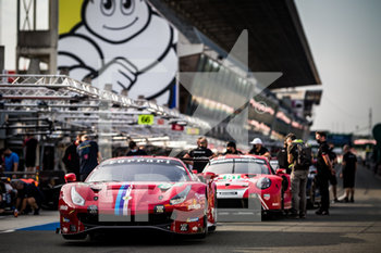 16/09/2020 - 82 Bourdais S..bastien (fra), Gounon Jules (fra), Pla Olivier (fra), Risi Competizione, Ferrari 488 GTE Evo, ambiance during the scrutineering of the 2020 24 Hours of Le Mans, 7th round of the 2019...20 FIA World Endurance Championship on the Circuit des 24 Heures du Mans, from September 16 to 20, 2020 in Le Mans, France - Photo Thomas Fenetre / DPPI - 24 HOURS OF LE MANS 2020 - ENDURANCE - MOTORI