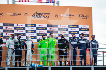 11/10/2020 - 13 Lunardi Dino (fra), Hippe Martin (deu), Inter Europol Competition, Ligier JS P320 - Nissan, action 11 Niko Kari (fin), Maulini Nicolas (swi), Baratto Jacopo (ita), Eurointernational, Ligier JS P320 - Nissan, action 02 Boyd Wayne (gbr), Gamble Tom (gbr), Wheldon Robert (gbr), United Autosports, Ligier JS P320 - Nissan, action podium during the 2020 4 Hours of Monza, 4th round of the 2020 European Le Mans Series, from October 9 to 11, 2020 on the Autodromo Nazionale di Monza, Italy - Photo Germain Hazard / DPPI - 4 HOURS OF MONZA, 4TH ROUND OF THE 2020 EUROPEAN LE MANS SERIES - SUNDAY - ENDURANCE - MOTORI