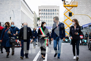 10/04/2021 - TODT Jean (fra) FIA President, portrait, Virginia Raggi, Mayor of Rome, LONGO Alberto, Deputy CEO of Formula E, during the 2021 Rome ePrix, 3rd round of the 2020-21 Formula E World Championship, on the Circuito Cittadino dell'EUR from April 9 to 11, in Rome, Italy - Photo Germain Hazard / DPPI - 2021 ROME EPRIX, 3RD ROUND OF THE 2020-21 FORMULA E WORLD CHAMPIONSHIP - FORMULA E - MOTORI