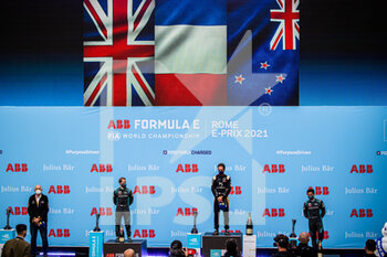 10/04/2021 - VERGNE Jean-Eric (fra), DS Techeetah, DS E-Tense FE20, portrait BIRD Sam (gbr), Jaguar Racing, Jaguar I-Type 5, portrait EVANS Mitch (nzl), Jaguar Racing, Jaguar I-Type 5, portrait podium during the 2021 Rome ePrix, 3rd round of the 2020-21 Formula E World Championship, on the Circuito Cittadino dell'EUR from April 9 to 11, in Rome, Italy - Photo Germain Hazard / DPPI - 2021 ROME EPRIX, 3RD ROUND OF THE 2020-21 FORMULA E WORLD CHAMPIONSHIP - FORMULA E - MOTORI