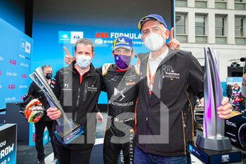 10/04/2021 - VERGNE Jean-Eric (fra), DS Techeetah, DS E-Tense FE20, portrait Thomas Chevaucher, DS Performance Director, Finot Jean-Marc, PSA Motorsport Director, portrait podium during the 2021 Rome ePrix, 3rd round of the 2020-21 Formula E World Championship, on the Circuito Cittadino dell'EUR from April 9 to 11, in Rome, Italy - Photo Germain Hazard / DPPI - 2021 ROME EPRIX, 3RD ROUND OF THE 2020-21 FORMULA E WORLD CHAMPIONSHIP - FORMULA E - MOTORI
