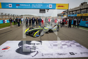 25/04/2021 - Tribute to Adrian Campos grille de depart starting grid during the 2021 Valencia ePrix, 3rd meeting of the 2020-21 Formula E World Championship, on the Circuit Ricardo Tormo from April 23 to 25, in Valencia, Spain - Photo Germain Hazard / DPPI - 2021 VALENCIA EPRIX, 3RD MEETING OF THE 2020-21 FORMULA E WORLD CHAMPIONSHIP - FORMULA E - MOTORI
