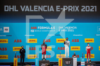 25/04/2021 - DENNIS Jake (gbr), BMW i Andretti Motorsport, BMW iFE.21, portrait LOTTERER André (ger), TAG Heuer Porsche Formula E Team, Porsche 99X Electric, portrait LYNN Alexandre (gbr), Mahindra Racing, Mahinda M7Electro, portrait podium during the 2021 Valencia ePrix, 3rd meeting of the 2020-21 Formula E World Championship, on the Circuit Ricardo Tormo from April 23 to 25, in Valencia, Spain - Photo Germain Hazard / DPPI - 2021 VALENCIA EPRIX, 3RD MEETING OF THE 2020-21 FORMULA E WORLD CHAMPIONSHIP - FORMULA E - MOTORI