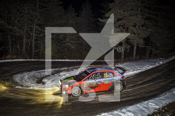 22/01/2021 - 23 Oliver SOLBERG (SWE), Aaron JOHNSTON (IRL), HYUNDAI MOTORSPORT N HYUNDAI i20, RC2 Rally2, action during the 2021 WRC World Rally Car Championship, Monte Carlo rally on January 20 to 24, 2021 at Monaco - Photo Grégory Lenormand / DPPI - 2021 WRC WORLD RALLY CAR CHAMPIONSHIP, MONTE CARLO - FRIDAY - RALLY - MOTORI
