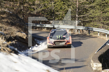 24/01/2021 - 23 Oliver SOLBERG (SWE), Aaron JOHNSTON (IRL), HYUNDAI MOTORSPORT N HYUNDAI i20, RC2 Rally2, action during the 2021 WRC World Rally Car Championship, Monte Carlo rally on January 20 to 24, 2021 at Monaco - Photo Grégory Lenormand / DPPI - 2021 WRC WORLD RALLY CAR CHAMPIONSHIP, MONTE CARLO - SUNDAY - RALLY - MOTORI