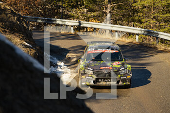 24/01/2021 - 36 Johannes KEFERBÖCK (AUT), Ilka MINOR (AUT), SKODA Fabia Evo, RC2 Rally2, action during the 2021 WRC World Rally Car Championship, Monte Carlo rally on January 20 to 24, 2021 at Monaco - Photo Grégory Lenormand / DPPI - 2021 WRC WORLD RALLY CAR CHAMPIONSHIP, MONTE CARLO - SUNDAY - RALLY - MOTORI