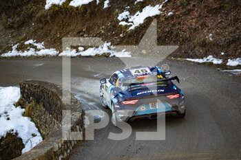 24/01/2021 - 46 Pierre RAGUES (FRA), Julien PESENTI (FRA), ALPINE A110, RGT RGT cars, action during the 2021 WRC World Rally Car Championship, Monte Carlo rally on January 20 to 24, 2021 at Monaco - Photo Grégory Lenormand / DPPI - 2021 WRC WORLD RALLY CAR CHAMPIONSHIP, MONTE CARLO - SUNDAY - RALLY - MOTORI