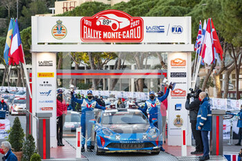 24/01/2021 - 43 Emmanuel GUIGOU (FRA), Alexandre CORIA (FRA), ALPINE A110, RGT RGT cars, podium, portrait during the 2021 WRC World Rally Car Championship, Monte Carlo rally on January 20 to 24, 2021 at Monaco - Photo Grégory Lenormand / DPPI - 2021 WRC WORLD RALLY CAR CHAMPIONSHIP, MONTE CARLO - SUNDAY - RALLY - MOTORI