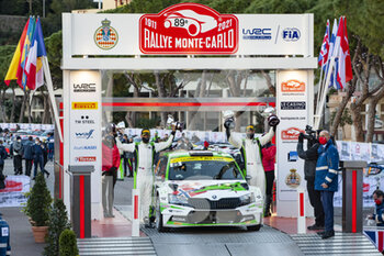 24/01/2021 - 25 Andreas MIKKELSEN (NOR), Ola FLOENE (NOR), TOKSPORT WRT SKODA Fabia Evo, RC2 Rally2, podium, portrait during the 2021 WRC World Rally Car Championship, Monte Carlo rally on January 20 to 24, 2021 at Monaco - Photo Grégory Lenormand / DPPI - 2021 WRC WORLD RALLY CAR CHAMPIONSHIP, MONTE CARLO - SUNDAY - RALLY - MOTORI