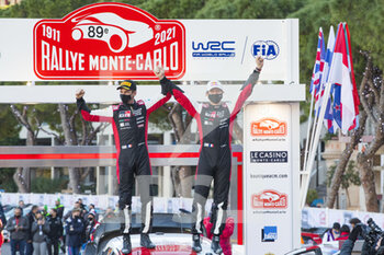 24/01/2021 - Sebastien OGIER (FRA), Julien INGRASSIA (FRA), TOYOTA GAZOO RACING WRT, TOYOTA Yaris WRC, ambiance podium, portrait, during the 2021 WRC World Rally Car Championship, Monte Carlo rally on January 20 to 24, 2021 at Monaco - Photo Grégory Lenormand / DPPI - 2021 WRC WORLD RALLY CAR CHAMPIONSHIP, MONTE CARLO - SUNDAY - RALLY - MOTORI