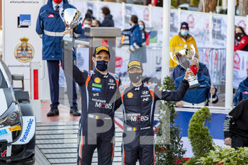 24/01/2021 - 11 Thierry NEUVILLE (BEL), Martijn Wydaeghe (BEL), HYUNDAI SHELL MOBIS WORLD RALLY TEAM, HYUNDAI I20 Coupé WRC, WRC ,podium, portrait during the 2021 WRC World Rally Car Championship, Monte Carlo rally on January 20 to 24, 2021 at Monaco - Photo Grégory Lenormand / DPPI - 2021 WRC WORLD RALLY CAR CHAMPIONSHIP, MONTE CARLO - SUNDAY - RALLY - MOTORI