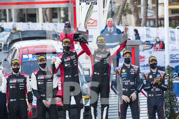 24/01/2021 - Sebastien OGIER (FRA), Julien INGRASSIA (FRA), TOYOTA GAZOO RACING WRT, TOYOTA Yaris WRC, Elfyn EVANS (GBR), Scott MARTIN (GBR), TOYOTA GAZOO RACING WRT TOYOTA Yaris WRC ,Thierry NEUVILLE (BEL), Martijn Wydaeghe (BEL), HYUNDAI SHELL MOBIS WORLD RALLY TEAM, HYUNDAI I20 Coupé WRC, WRC, ambiance, podium, portrait, during the 2021 WRC World Rally Car Championship, Monte Carlo rally on January 20 to 24, 2021 at Monaco - Photo Grégory Lenormand / DPPI - 2021 WRC WORLD RALLY CAR CHAMPIONSHIP, MONTE CARLO - SUNDAY - RALLY - MOTORI