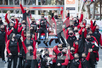 24/01/2021 - Sebastien OGIER (FRA), Julien INGRASSIA (FRA), TOYOTA GAZOO RACING WRT, TOYOTA Yaris WRC, ambiance, podium, portrait, during the 2021 WRC World Rally Car Championship, Monte Carlo rally on January 20 to 24, 2021 at Monaco - Photo Grégory Lenormand / DPPI - 2021 WRC WORLD RALLY CAR CHAMPIONSHIP, MONTE CARLO - SUNDAY - RALLY - MOTORI