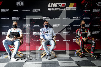 11/09/2020 - press conference Muller Yvan (fra), Cyan Performance Lynk and Co, Lynk and Co 03 TCR, portrait, Michelisz Norbert (hun), BRC Hyundai N LUKOIL Squadra Corse, Hyundai i30 N TCR, portrait, Guerrieri Esteban (arg), ALL-INKL.DE Munnich Motorsport, Honda Civic TCR, portrait during the 2020 FIA WTCR Race of Belgium, 1st round of the 2020 FIA World Touring Car Cup, on the Circuit Zolder, from September 11 to 13, 2020 in Zolder, Belgium - Photo Paulo Maria / DPPI - FIA WORLD TOURING CAR CUP 2020 - BELGIO - TURISMO E GRAN TURISMO - MOTORI