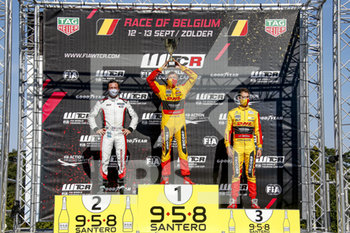11/09/2020 - Coronel Tom (ned), Comtoyou DHL Team Audi Sport, Audi LMS, portrait, Vernay Jean-Karl (fra), Team Mulsanne, Alfa Giulietta TCR, portrait, Berthon Nathanael (fra), Comtoyou DHL Team Audi Sport, Audi LMS, portrait podium during the 2020 FIA WTCR Race of Belgium, 1st round of the 2020 FIA World Touring Car Cup, on the Circuit Zolder, from September 11 to 13, 2020 in Zolder, Belgium - Photo Paulo Maria / DPPI - FIA WORLD TOURING CAR CUP 2020 - BELGIO - TURISMO E GRAN TURISMO - MOTORI
