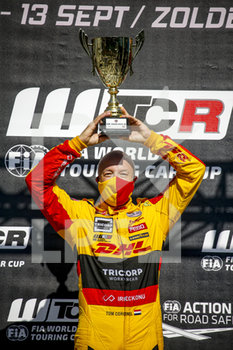 11/09/2020 - Coronel Tom (ned), Comtoyou DHL Team Audi Sport, Audi LMS, portrait podium during the 2020 FIA WTCR Race of Belgium, 1st round of the 2020 FIA World Touring Car Cup, on the Circuit Zolder, from September 11 to 13, 2020 in Zolder, Belgium - Photo Paulo Maria / DPPI - FIA WORLD TOURING CAR CUP 2020 - BELGIO - TURISMO E GRAN TURISMO - MOTORI