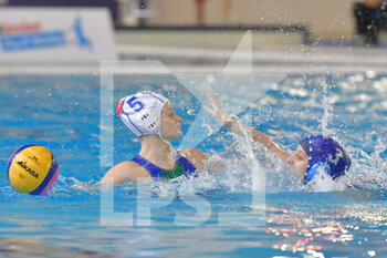 22/01/2021 - 5 QUEIROLO Elisa [ROLE: Wing] (Italy) vs 3 LEVI Tahel [ROLE: Field Player] (Israel)  - WOMEN'S WATERPOLO OLYMPIC GAME QUALIFICATION TOURNAMENT 2021 - ITALY VS ISRAEL - TORNEO OLIMPICO - PALLANUOTO
