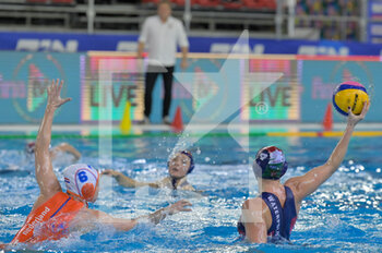 24/01/2021 - 4 GURISATTI Greta [ROLE: Field Player] (Hungary) - 8 SEVENICH Vivian [ROLE: Wing] (Netherlands)  - WOMEN'S WATERPOLO OLYMPIC GAME QUALIFICATION TOURNAMENT 2021 - NETHERLANDS VS HUNGARY - TORNEO OLIMPICO - PALLANUOTO