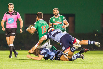 08/09/2018 - Jayden Hayward placcato da LLoyd williams e ellis jenkins - BENETTON TREVISO VS CARDIFF BLUES - GUINNESS PRO 14 - RUGBY