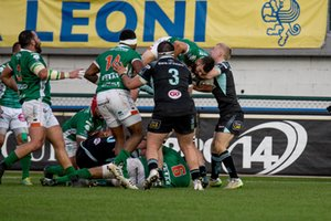 Jayden Hayward tenuto in aria - Benetton Treviso vs Ulster Rugby - GUINNESS PRO 14 - RUGBY