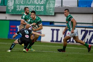 Ignacio Brex placcato da David Shanahan - Benetton Treviso vs Ulster Rugby - GUINNESS PRO 14 - RUGBY