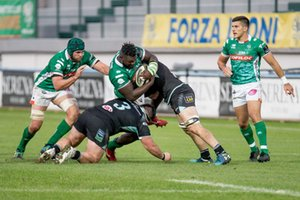 Derrick Appiah placcato - Benetton Treviso vs Ulster Rugby - GUINNESS PRO 14 - RUGBY