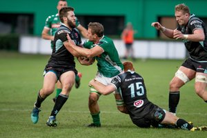 Marco Barbini placcato da Peter Nelson - Benetton Treviso vs Ulster Rugby - GUINNESS PRO 14 - RUGBY