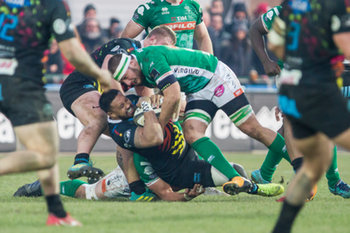 Giovanni Pettinelli placca Jimmy Tuivaiti - Benetton Treviso Vs Zebre Rugby - GUINNESS PRO 14 - RUGBY
