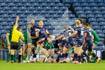 25/10/2020 - Edinburgh players celebrate after Mike Willemse (2) of Edinburgh Rugby scores a pushover try during the Guinness Pro 14 rugby union match between Edinburgh Rugby and Connacht Rugby on October 25, 2020 at BT Murrayfield Stadium in Edinburgh, Scotland - Photo Malcolm Mackenzie / ProSportsImages / DPPI - EDINBURGH RUGBY VS CONNACHT RUGBY - GUINNESS PRO 14 - RUGBY