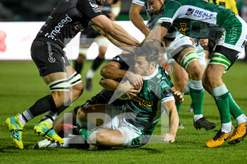 29/11/2020 - Joaquin Riera (Benetton Treviso) tackled by Jamie Roberts (Dragons) - BENETTON VS DRAGONS - GUINNESS PRO 14 - RUGBY