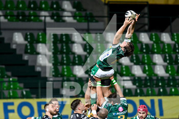 29/11/2020 - Giovanni Pettinelli (Benetton Treviso) catches the ball on a touch - BENETTON VS DRAGONS - GUINNESS PRO 14 - RUGBY