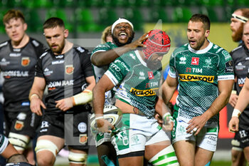 29/11/2020 - Happiness of Cherif Traoré (Benetton Treviso) for the try of Hame Faiva (Benetton Treviso) - BENETTON VS DRAGONS - GUINNESS PRO 14 - RUGBY