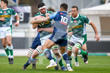14/03/2021 - Riccardo Favretto (Benetton Treviso) tackled by Ben Thomas (Cardiff) - BENETTON TREVISO VS CARDIFF BLUES - GUINNESS PRO 14 - RUGBY