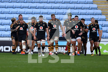 09/09/2020 - Wasps players celebrate Wasps prop Tom West (1) try during the English championship Gallagher Premiership Rugby Union match between Wasps and Leicester Tigers on September 9, 2020 at the Ricoh Arena in Coventry, England - Photo Dennis Goodwin / ProSportsImages / DPPI - WASPS VS LEICESTER TIGERS - PREMERSHIP RUGBY UNION - RUGBY
