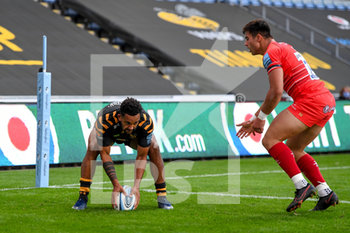 09/09/2020 - Wasps wing Zach Kibirige (14) scores a try during the English championship Gallagher Premiership Rugby Union match between Wasps and Leicester Tigers on September 9, 2020 at the Ricoh Arena in Coventry, England - Photo Dennis Goodwin / ProSportsImages / DPPI - WASPS VS LEICESTER TIGERS - PREMERSHIP RUGBY UNION - RUGBY