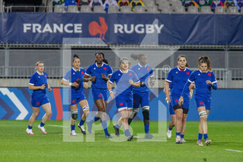 03/04/2021 - France players before the 2021 Women's Six Nations, rugby union match between France and Wales on April 3, 2021 at La Rabine stadium in Vannes, France - Photo Damien Kilani / DK Prod / DPPI - SEI NAZIONI FEMMINILE 2021 - FRANCIA VS GALLES - 6 NAZIONI - RUGBY